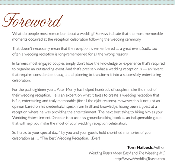 Foreword For The Best Wedding Reception Ever By Tom Haibeck Author Of