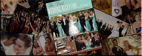 More Info About The Book, The Best Wedding Reception Ever! The cover of The Best Wedding Reception Ever! surrounded by a collage of color images from the interior pages of the book. Cover Photo Credit: Jim Kennedy Photographers