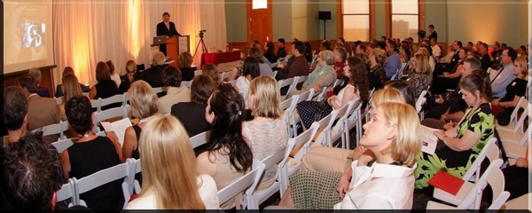 Upcoming Events for The Best Wedding Reception Ever! Peter Merry presenting a Seminar about The Best Wedding Reception Ever! to a room filled with Brides & Grooms along with a variety of wedding professionals at the Old Red Courthouse in Dallas, Texas. Photo Credit: